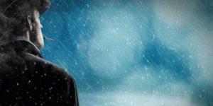 Film noir man in the rain