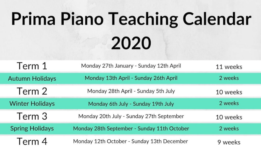PP Teaching Calendar 2020