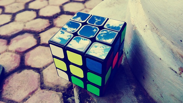 rubik cube with cloud image on one side