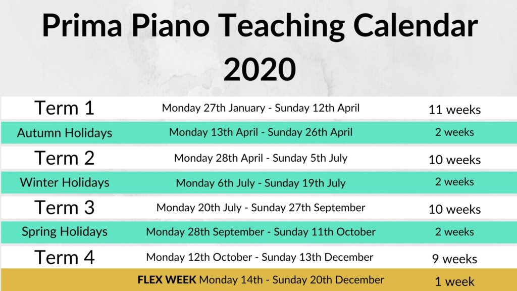 Prima Piano Teaching Calendar 2020